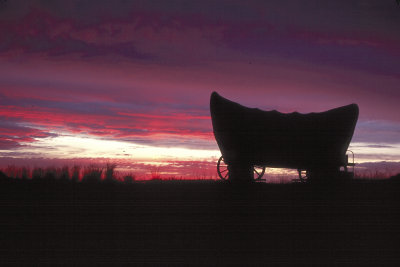 Covered Wagon at Sunset