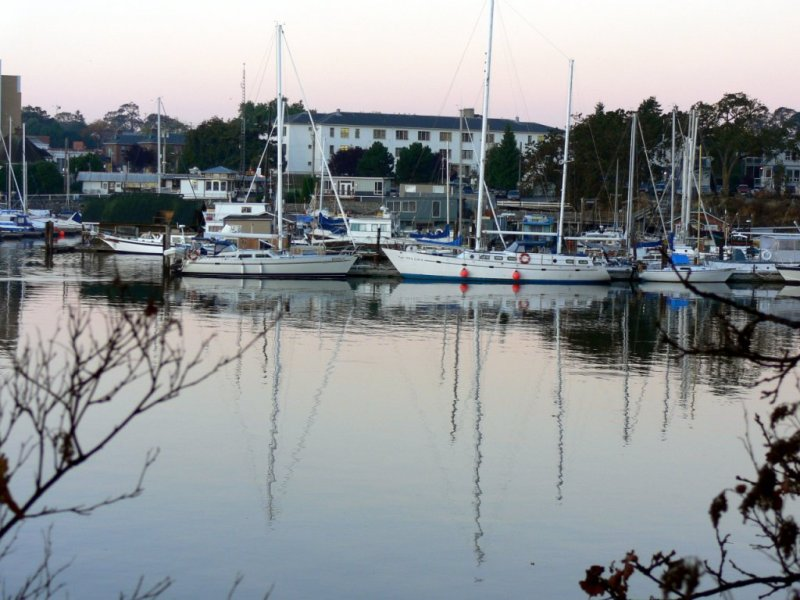 Early morning view at West Bay Marina in Victoria Harbour