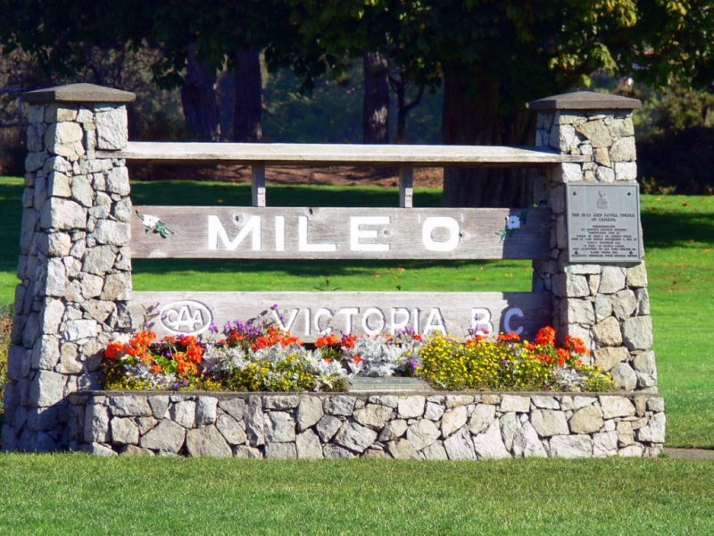 Mile 0 of the Trans Canada Highway in Victoria, British Columbia