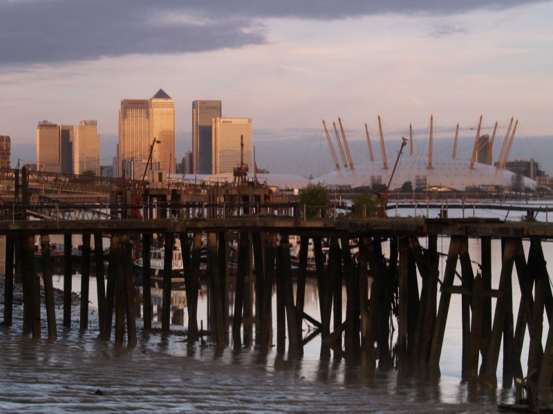 Dawn breaks over Canary Wharf and Millenium Dome