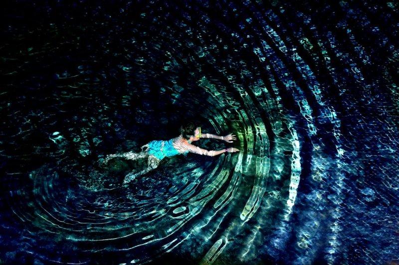 Brave Explorer in Underground River, Yucatan