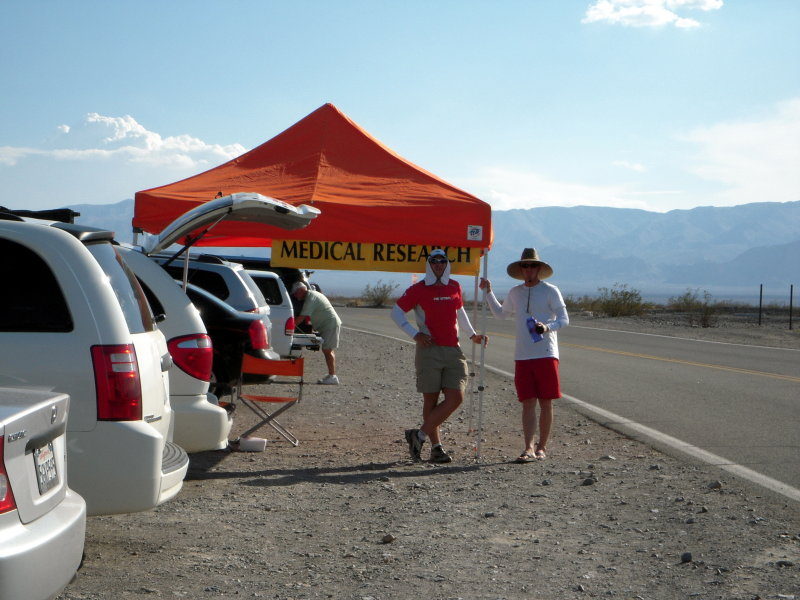 Dr. Brent Ruby and his research gang at Panamint Springs, mile 73 on the course