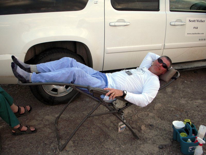 Scott Weber takes a break on his way to his 12th Badwater finish