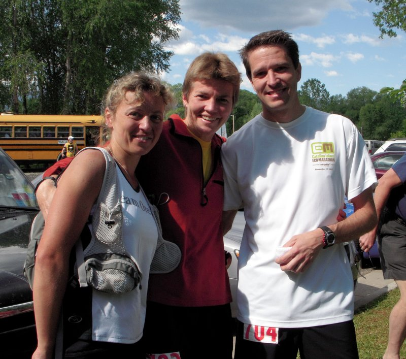 Olga, Kim Gimenez and Tim Downing. Kim is running with Tim for his first 100-mile finish