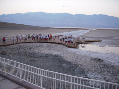 racers gather at the Badwater sign