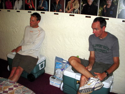 Dave Heckman and Jeff Lynn - tired at the SPW medical HQ