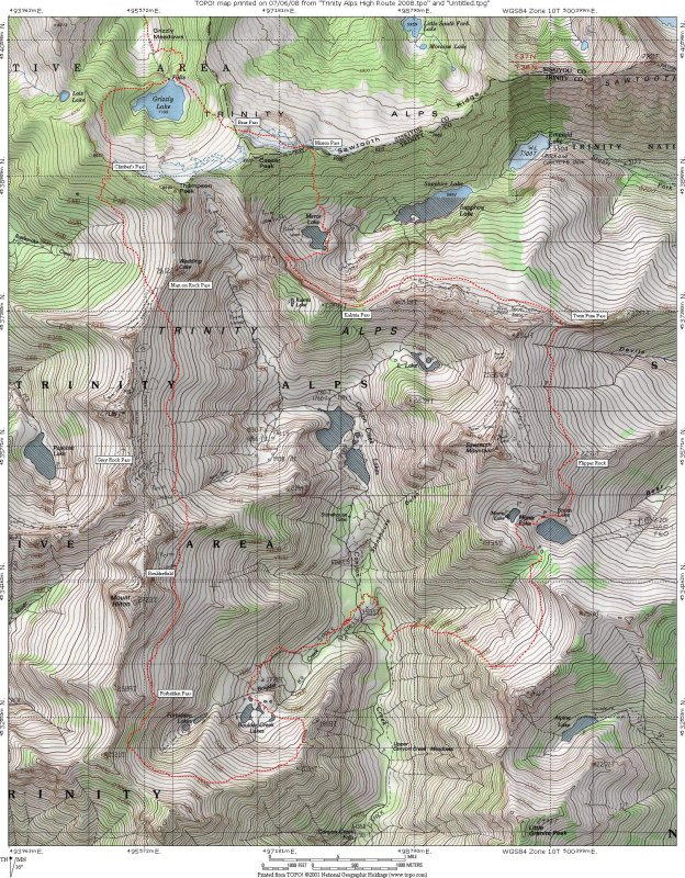 Trinity Alps High Route 2008 Map photo - Deems Burton photos at ...