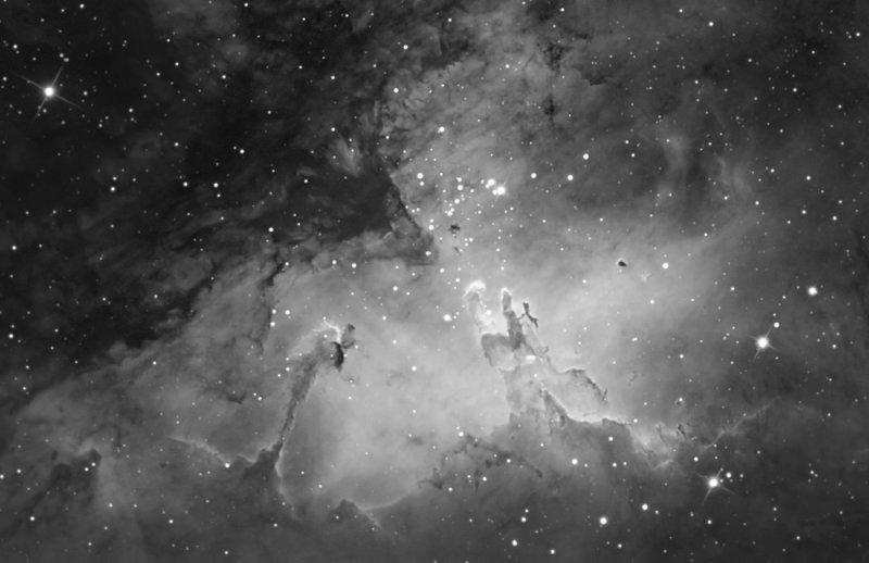 Pillars of Creation in Hydrogen Alpha