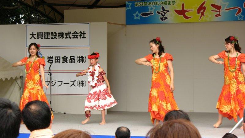 Hula dancers on the shrine grounds