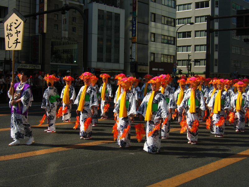 Parade of women in traditional clothing