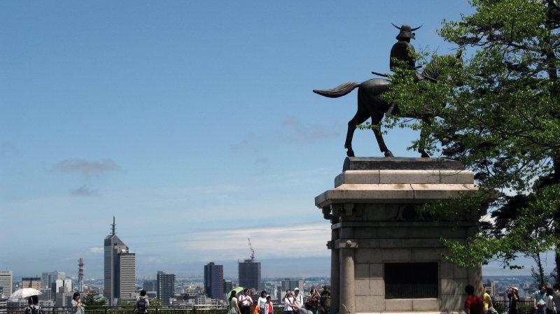 Statue of Date Masamune with Sendai skyline