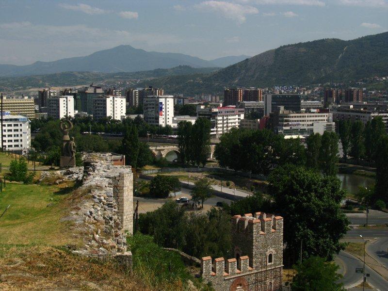 Castle walls and central Skopje skyline