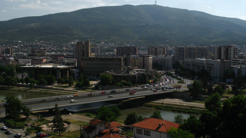 View over downtown Skopje and Mt. Vodno