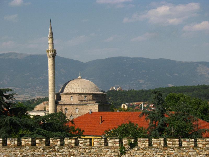Mustafa Paša Mosque and mountains beyond