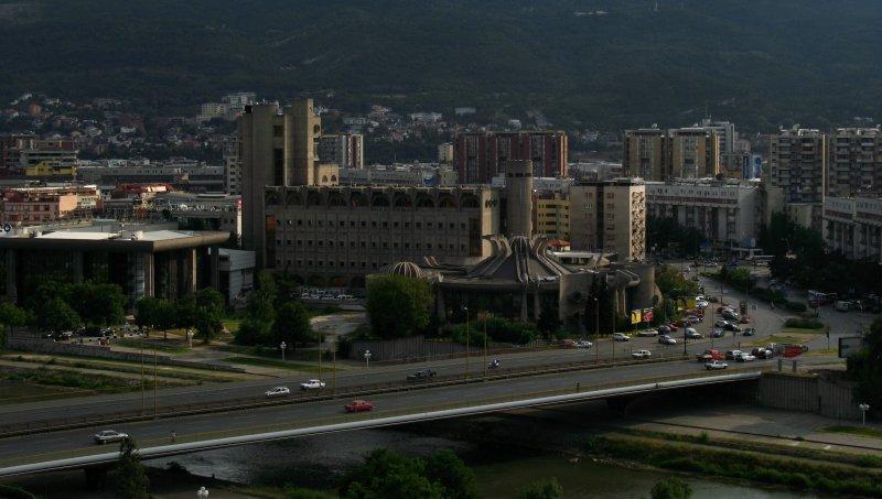 Central Skopje with Goce Delčev Bridge
