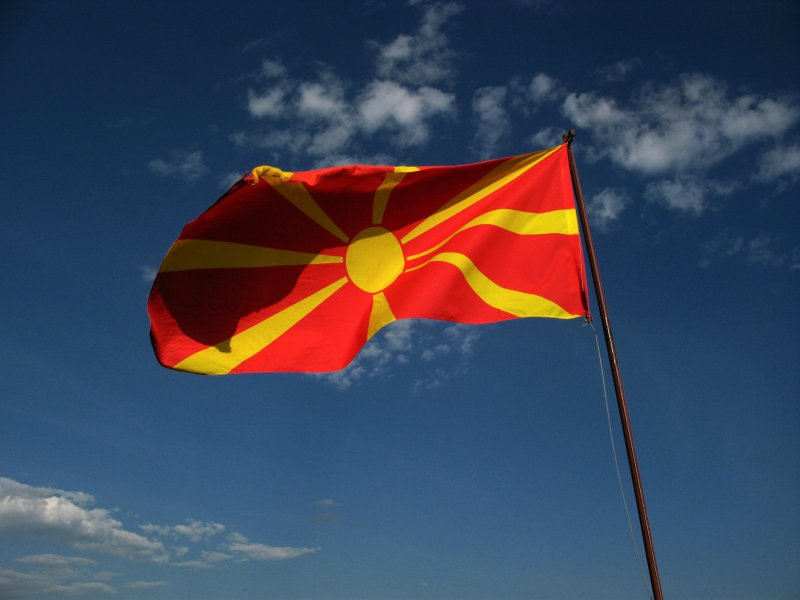 Macedonian flag flying over the castle