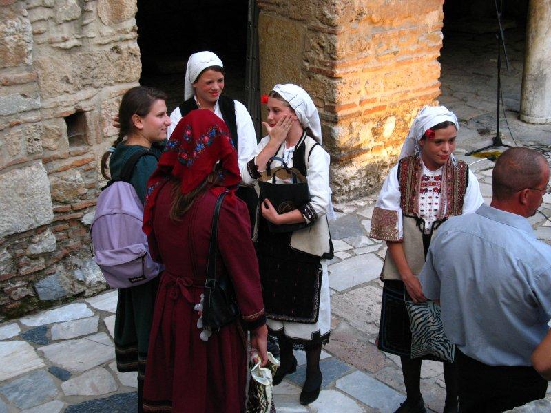 Girls in folk dress below Sveti Sofija