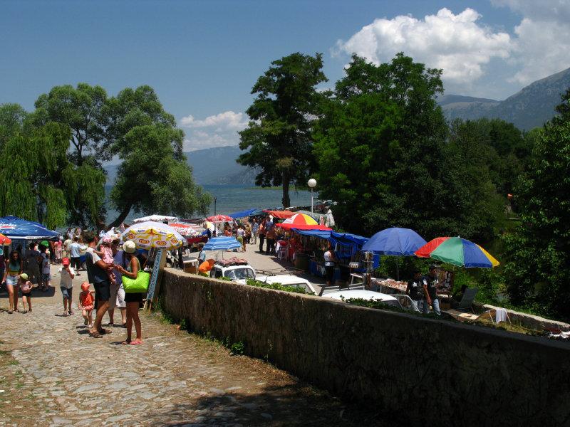 Umbrellas along the main path through Sveti Naum