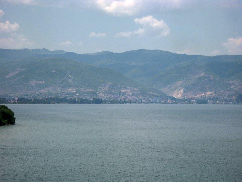 View towards Pogradec, Albania from Sveti Naum