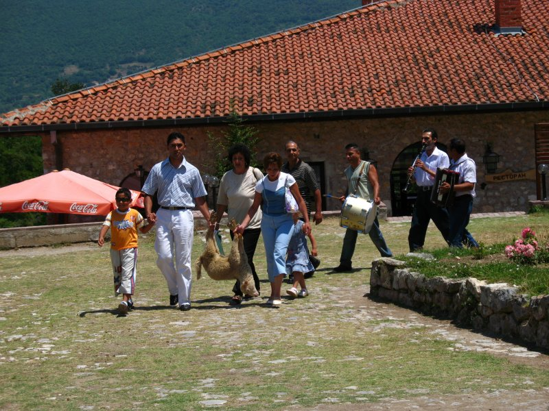 Procession outside the monastery church