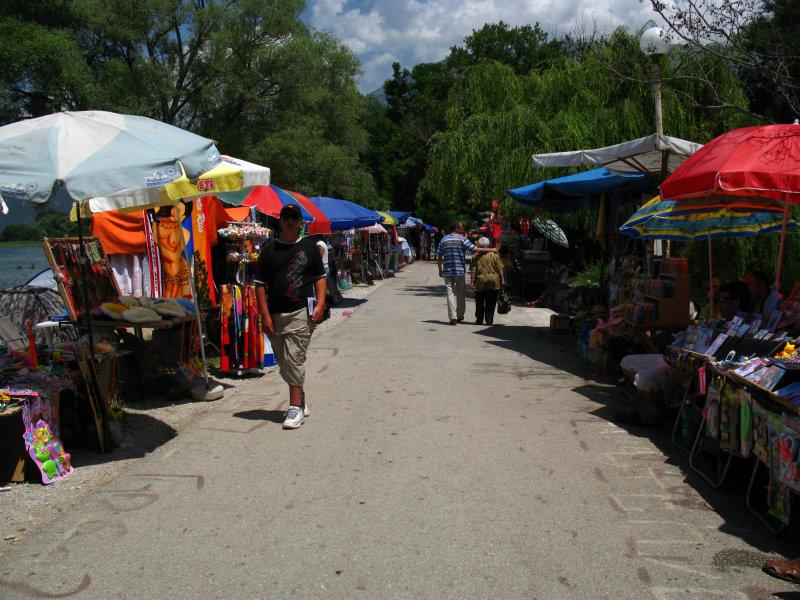 Rows of souvenir stalls at Sveti Naum