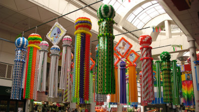Rows of streamers in the arcade
