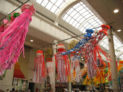 Streamers blowing within the arcade