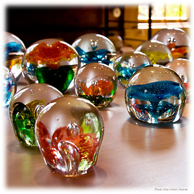 Glass paperweights at the souvenirshop, Suomenlinna