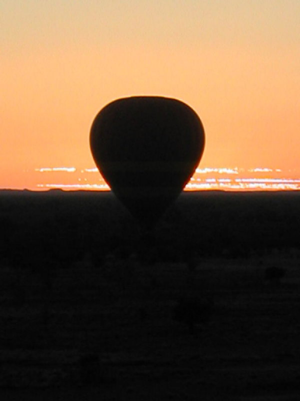 Hot air balloon at 4:30 am over the Outback