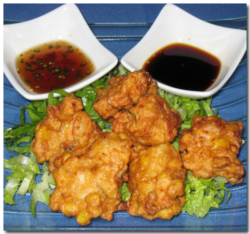 Thai Shrimp Cornfritters With Dipping Sauce