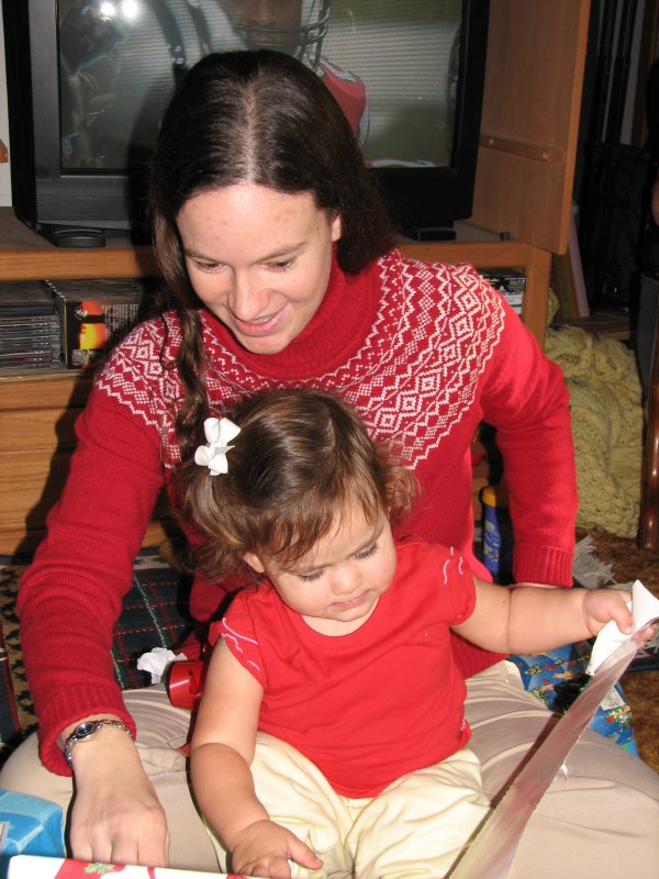 Nicole unwrapping for aunt alli.JPG
