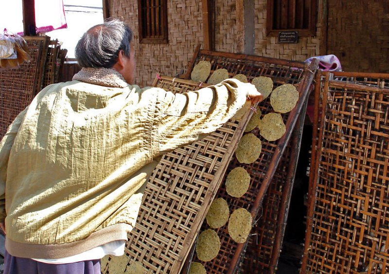 Rice patties being put up to dry