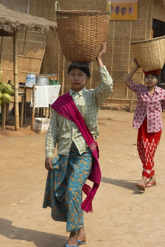 Women coming back from the market