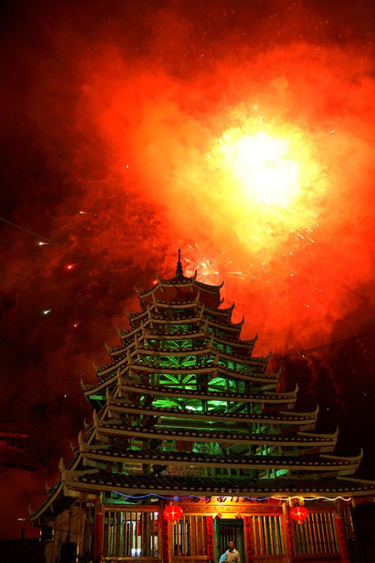 3420 Fireworks display at new drum tower dedication. ***Explanation***