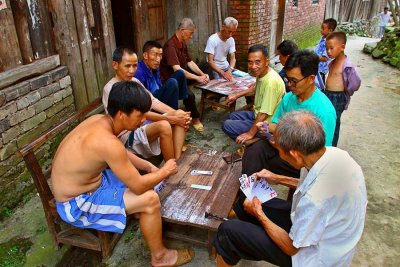 0435 There is always work but there is always time for cards.