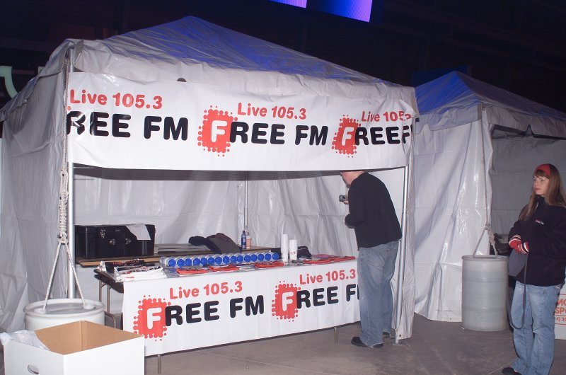 Live 105.3 FM booth prepairng for the Marathon Participants Soon to Show up