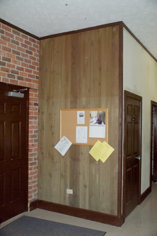 State Office showing high water mark above bulletin board