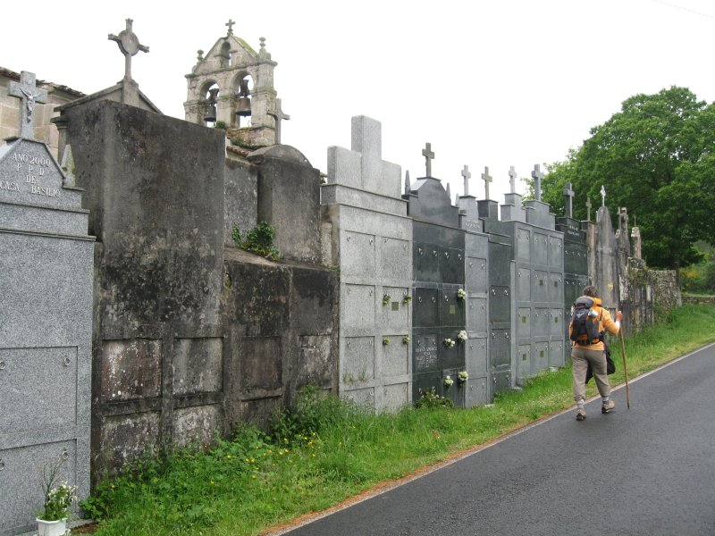 A cemetery faces out to the camino