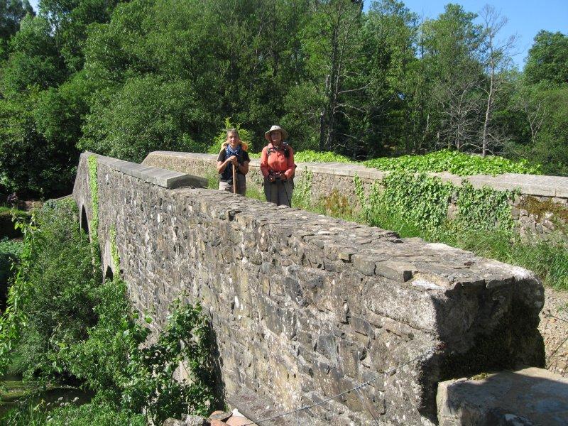 Crossing the romanic bridge at Furelos