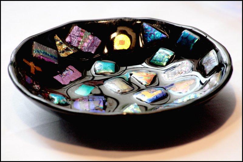 Small Black Glass Dish