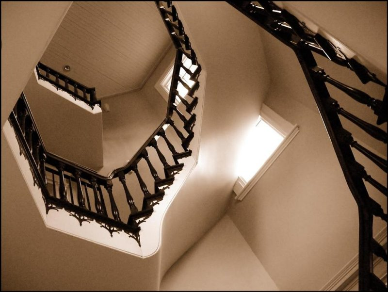 HERE THE  STAIRCASE OF THE MANOR OF LOUIS JOSEPH PAPINEAU IN MONTEBELLO  QUEBEC