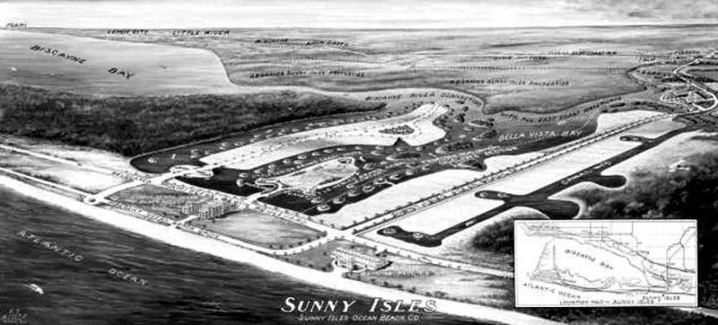 1940 - Aerial view of the plan for Sunny Isles by the Sunny Isles Ocean Beach Company