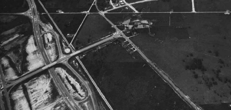 1954 - Closer aerial view of the Golden Glades Interchange looking west