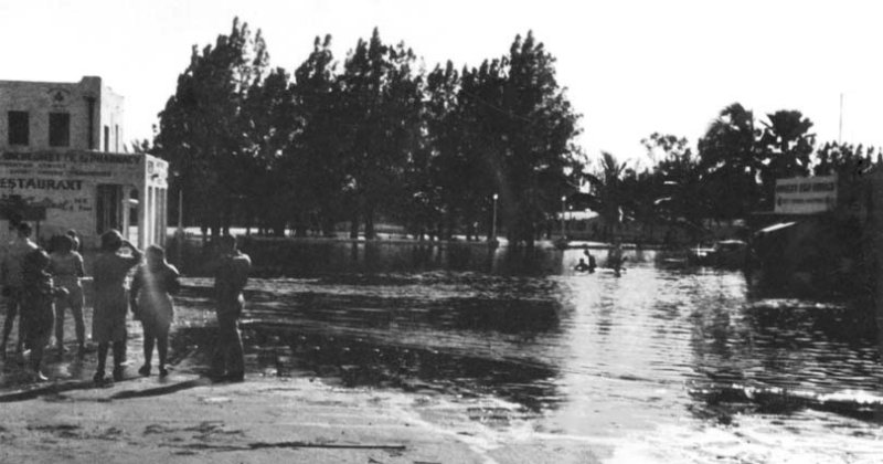 1947 - The Circle and Miami Springs Pharmacy after the Flood of 1947 caused by Hurricane VI
