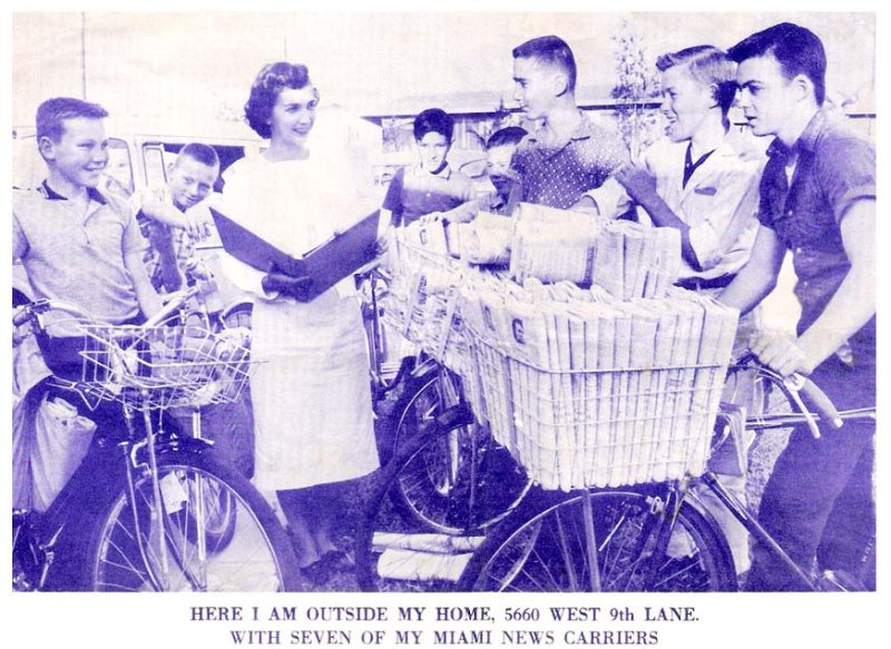 1962 - Dotty Cheleotis, Miami News counselor, with a group of her Miami News paperboys