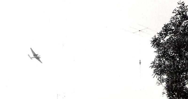 1962 - Mediteranean Fruit Fly spray eradication program spray aircraft over Palm Springs in Hialeah