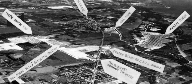 1958 - aerial view of South Miami Heights, Cutler Ridge, Perrine, in Dade County, Florida (close up)