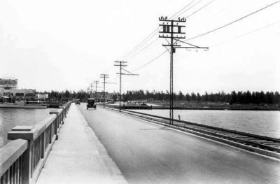 1921 - the east end of County Causeway at Miami Beach, Florida