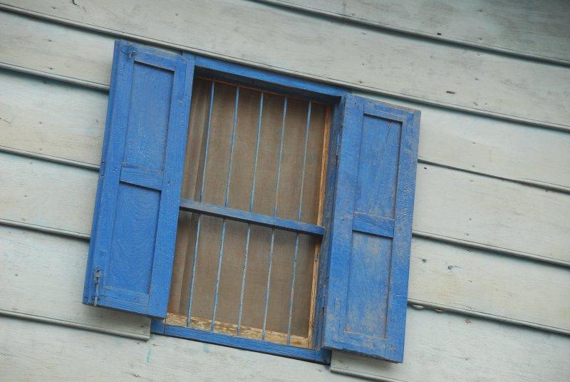 Luang Prabang Window wth Blue Shutters