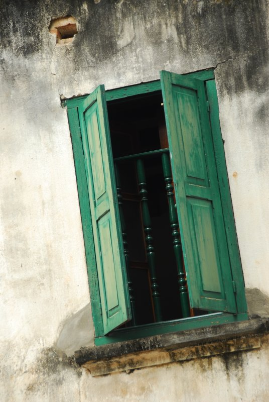Luang Prabang Window with Green Shutters